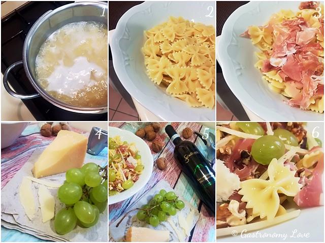 Pasta fredda con uva, crudo, noci e grana_preparazione