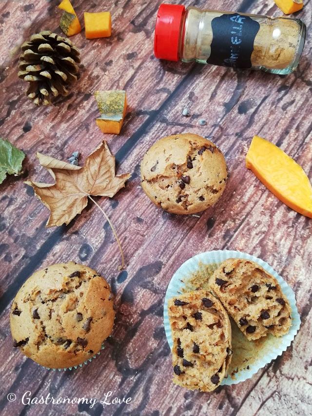 Muffin zucca cannella e cioccolato