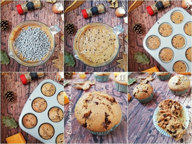 Preparazione muffin alla zucca e cannella con gocce di cioccolato fondente