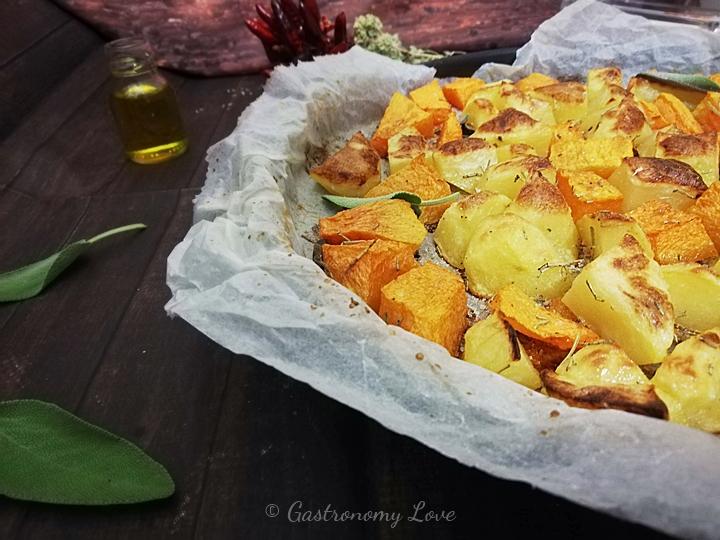 Contorno facile di zucca e patate al forno