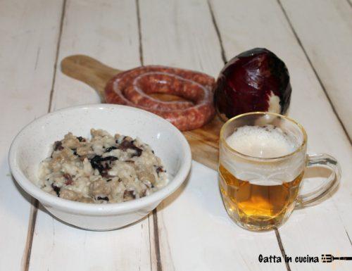 Risotto alla birra con salsiccia e radicchio