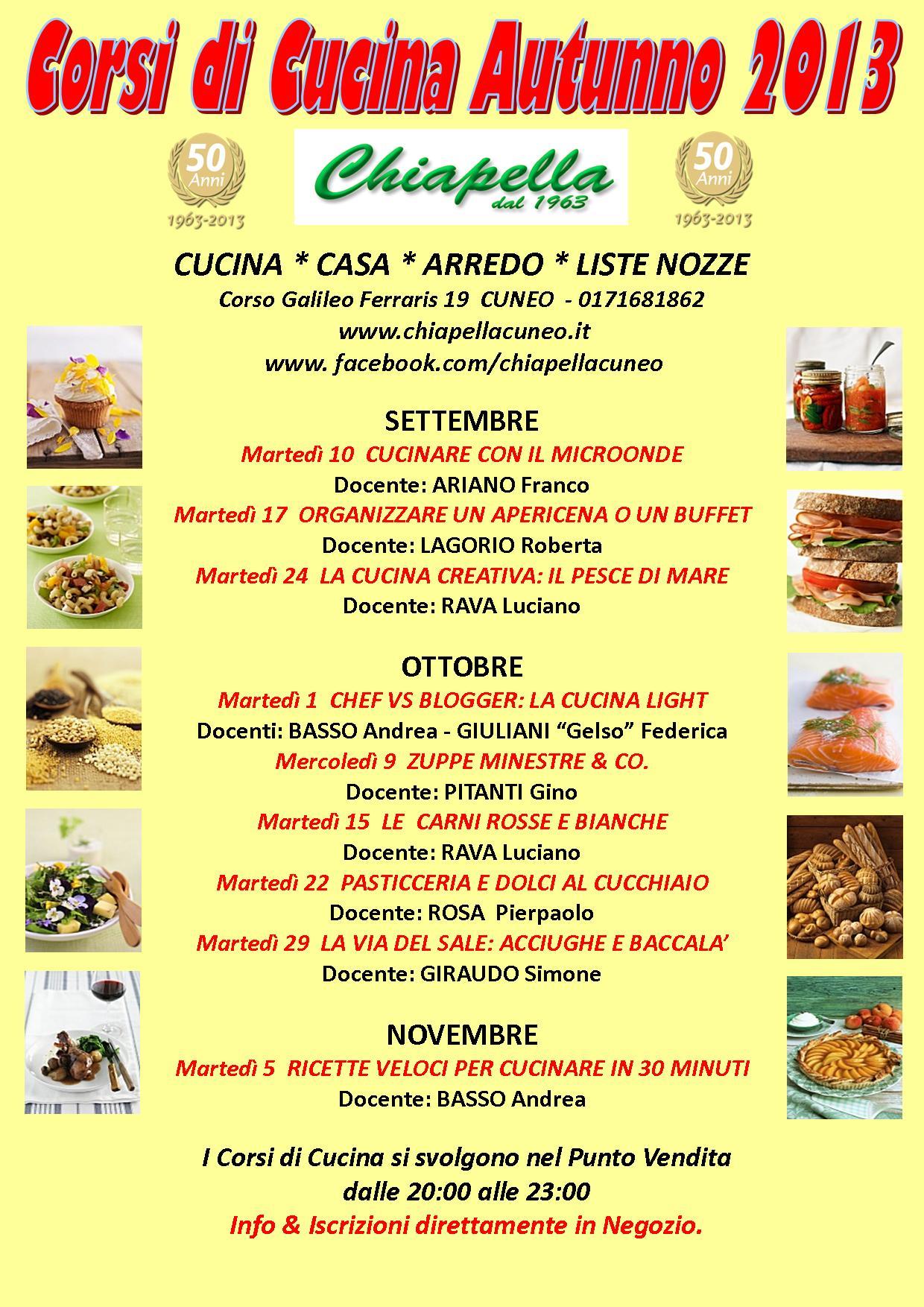 Manifesto Corsi Cucina Autunno 2013