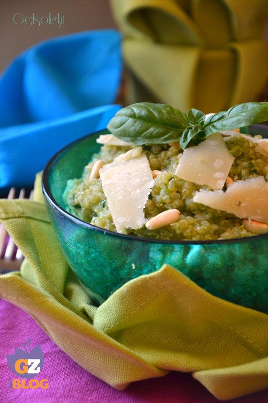 quinoa al pesto scomposto verticale