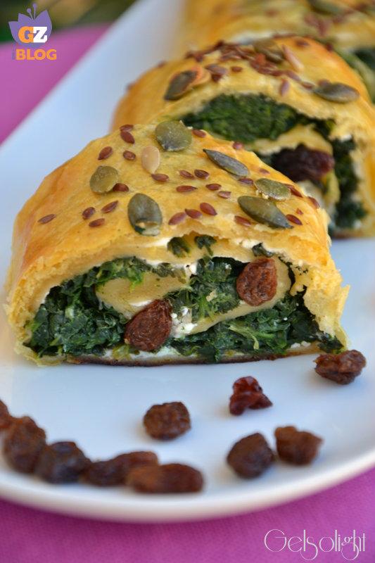 rotolo integrale con spinaci e uvetta vert
