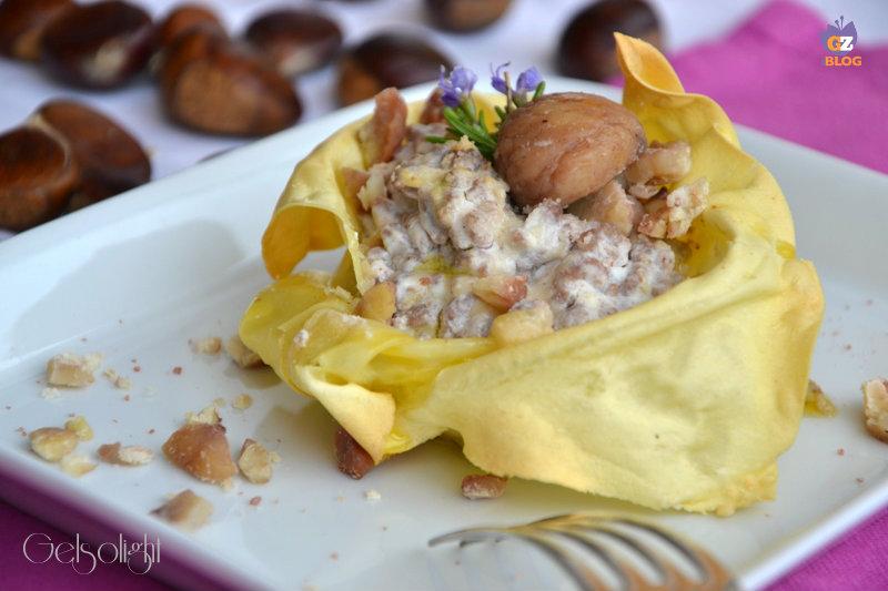 lasagnetta aperta con ragù bianco e castagne or