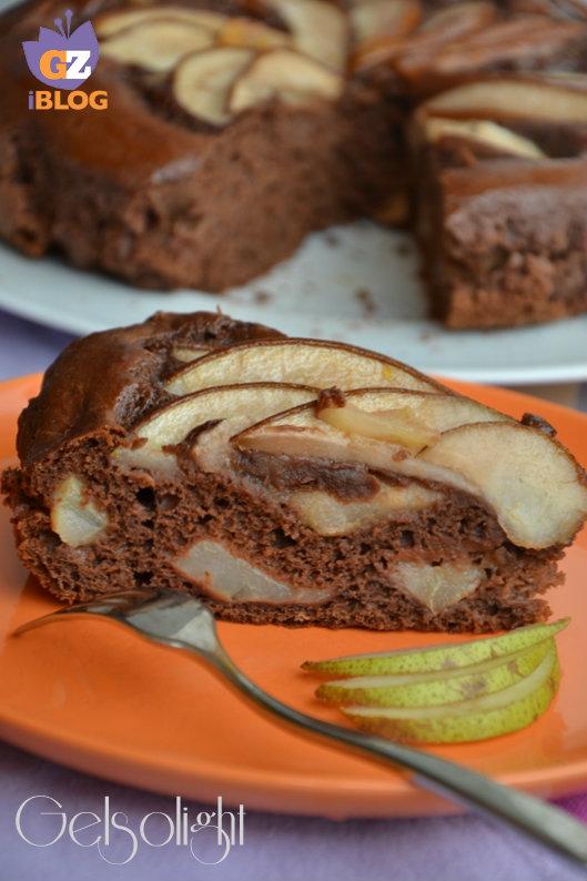 torta cacao e pere senza grassi fetta
