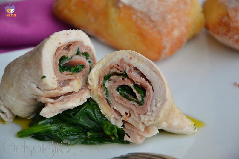 rolatine di pollo al vapore con prosciutto e spinaci or