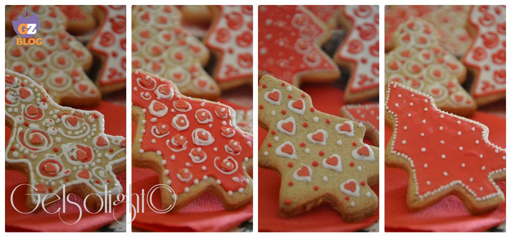 collage biscotti natalizi con ghiaccia