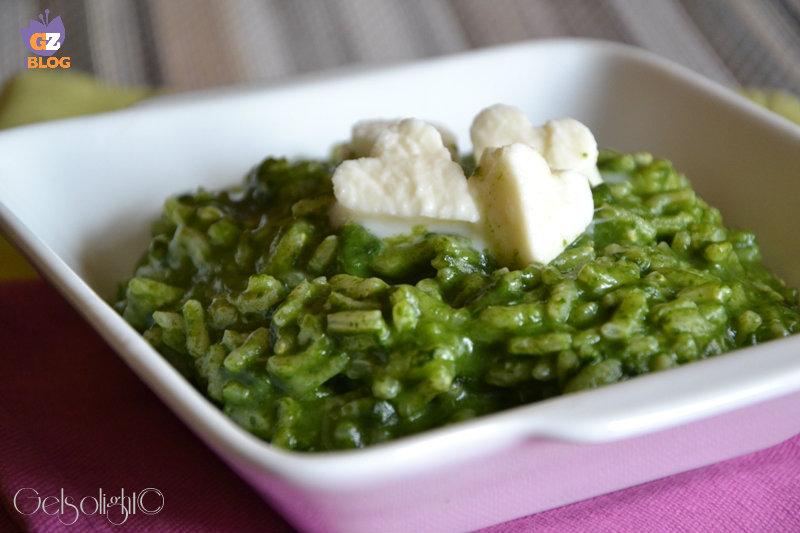 risotto alla crema di spinaci e mozzarella oriz