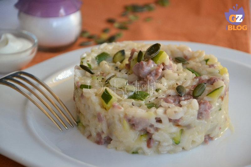 risotto zucchine salsiccia e semi di zucca or
