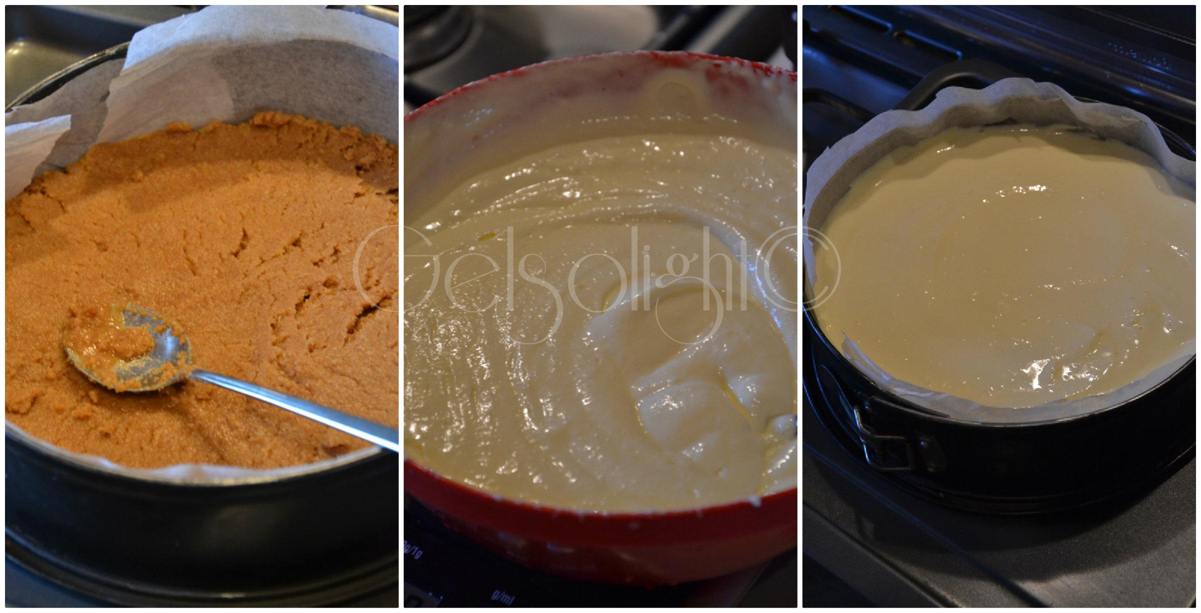 Collage procedimento cheesecake