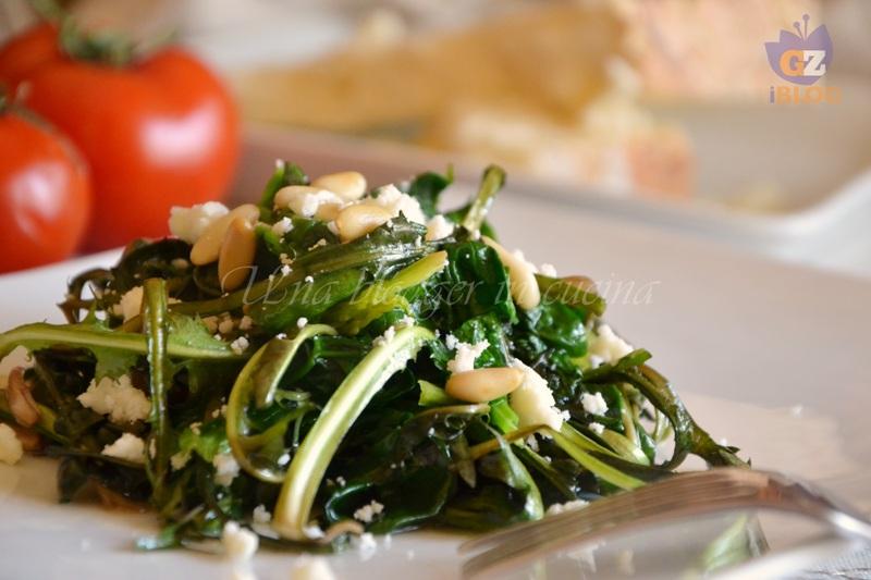 spinaci e tarassaco con pinoli e castelmagno (1)