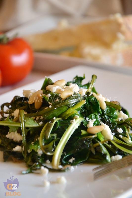 spinaci e tarassaco con pinoli e castelmagno (2)