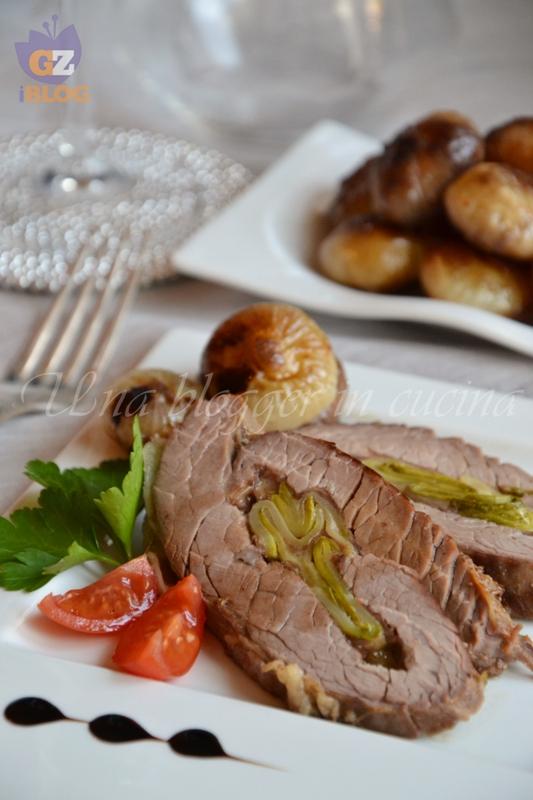 Rollata con zucchine scamorza e pancetta con cipolle in agrodolce (2)