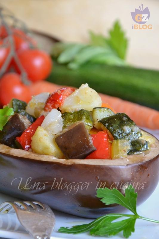 Barchette di melanzane con verdure al forno (1)
