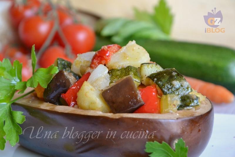 Barchette di melanzane con verdure al forno (2)