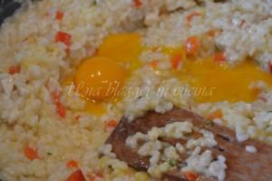 mantecatura del risotto con i tuorli