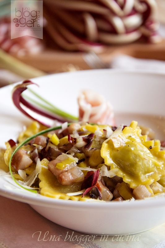 Ravioli con radicchio, porro di Cervere e pancetta