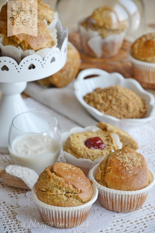 Muffin integrali senza lattosio con cuore di confettura