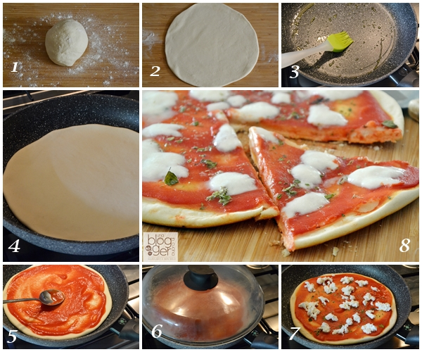 collage pizza in padella