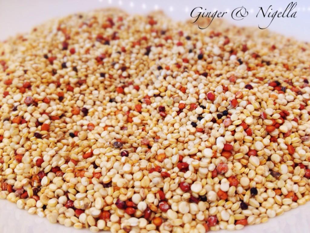 quinoa, quinoa colorata, patata dolce ripiena