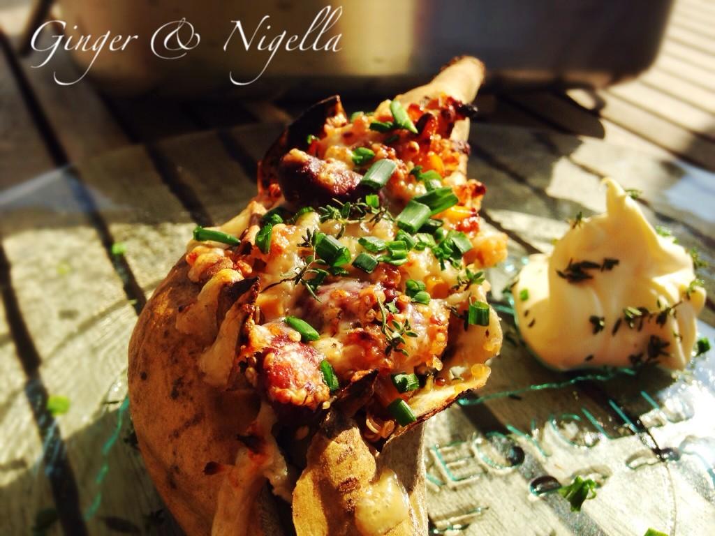 patata dolce ripiena, patata dolce, batata, sweet potato, patata americana, quinoa, lime, spezie, patate dolci arrosto,stuffed sweet potatoes, coriandolo