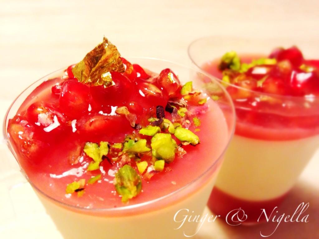 Chantilly di panna cotta con gelèe al melograno, gelèe, melograno, panna cotta, chantilly, Montersino, dolci monoporzione, dolci al cucchiaio