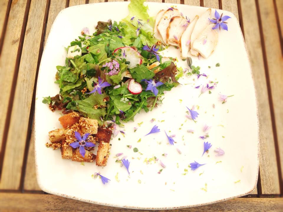Fiori di borragine, sono i piu' grandi a sinistra, fiori di fiordaliso, lunghi e blu intensi, fiori di erba cipollina, i piu' chiari.