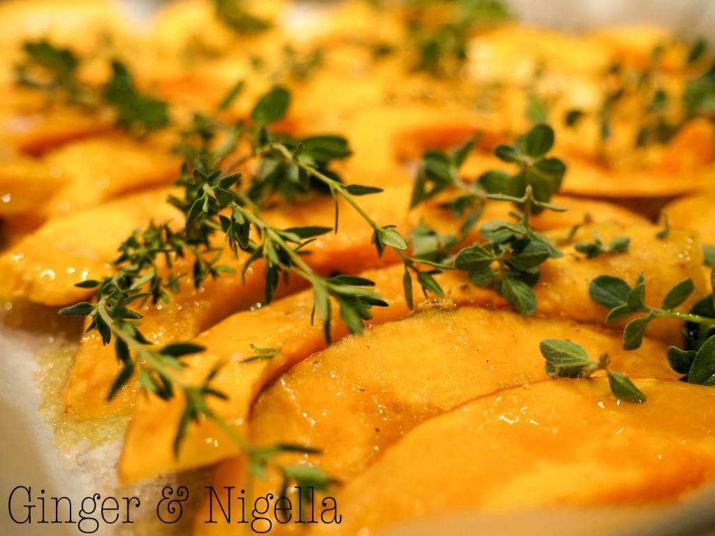 Zucca Mantovana arrosto con erbette e semi di zucca