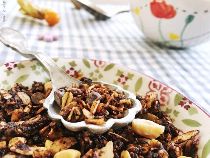American Breakfast, avena soffiata, breakfast, cereali, cioccolato, colazione, delicius, English granola, fiocchi d'avena, granola, granola al cioccolato, light food, yummi