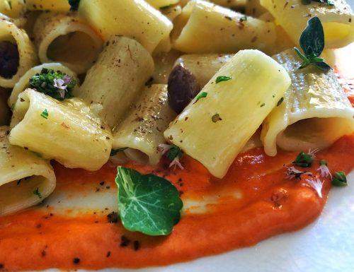 Mezze maniche alle olive taggiasche con hummus di peperoni e polvere di capperi