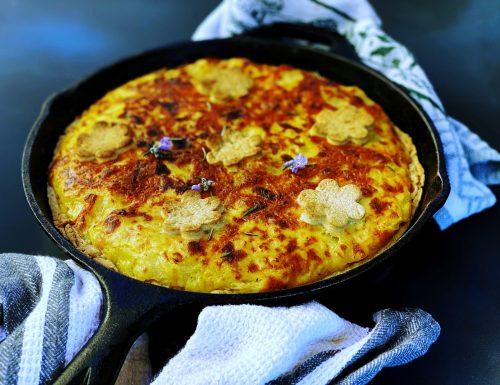 Torta di grano saraceno con cipolle e patate, profumata al rosmarino