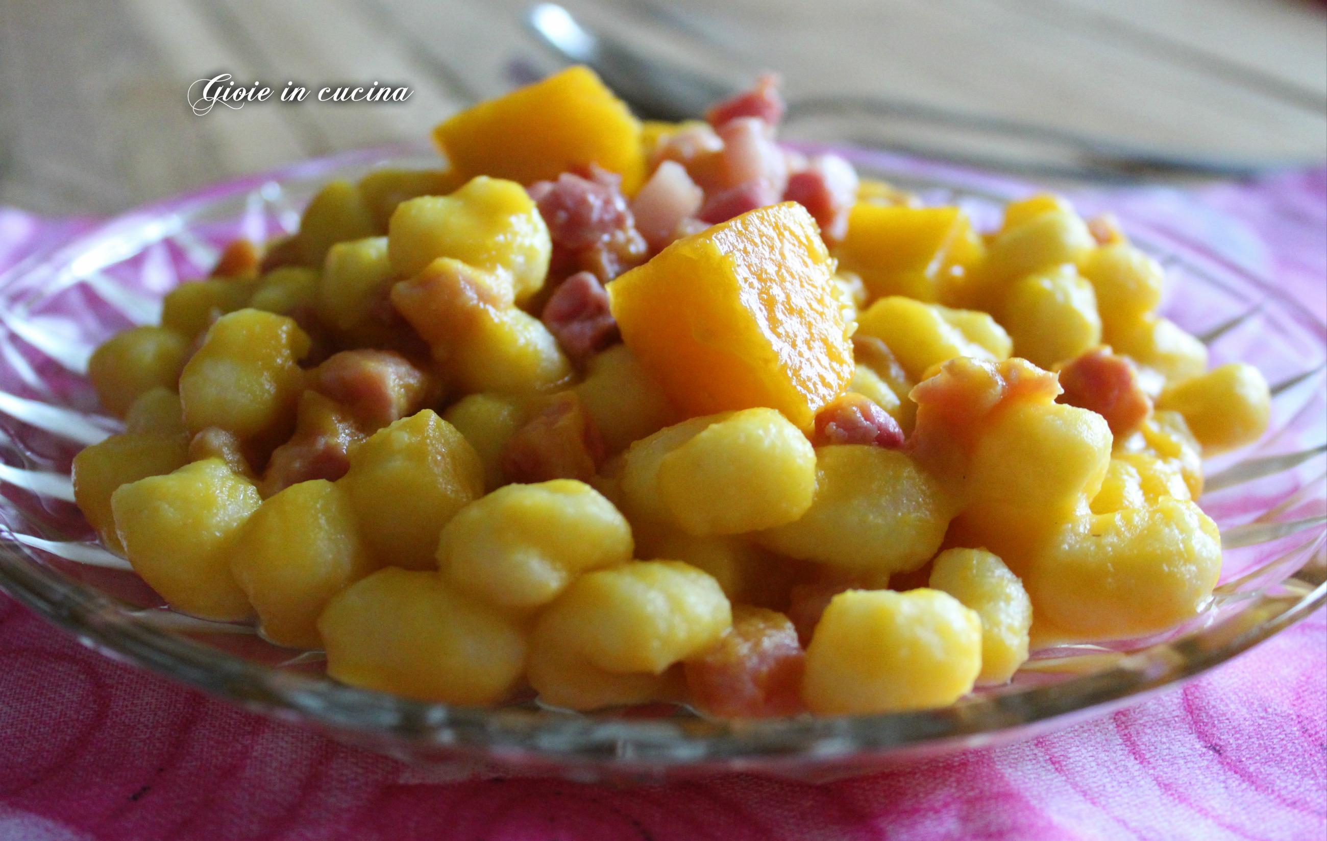 Ricetta Gnocchi Zucca E Pancetta.Gnocchetti Con Crema Di Zucca E Pancetta Gioie In Cucina