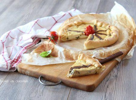 Torta salata con ricotta e alici
