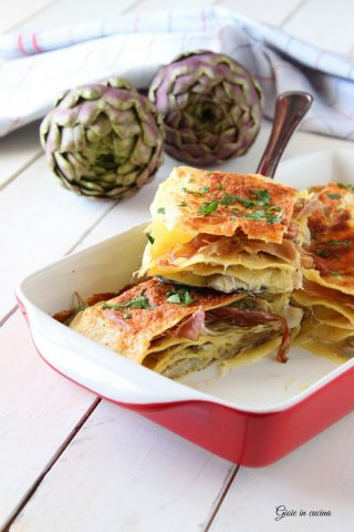 Lasagne con carciofi e speck