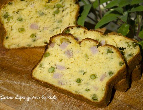 Plumcake salato con prosciutto cotto e piselli