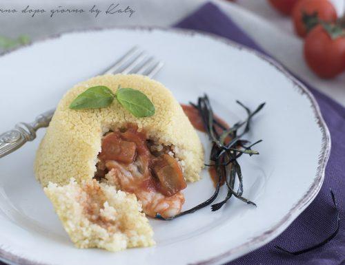 Tortini di cous cous con cuore di melanzane filante