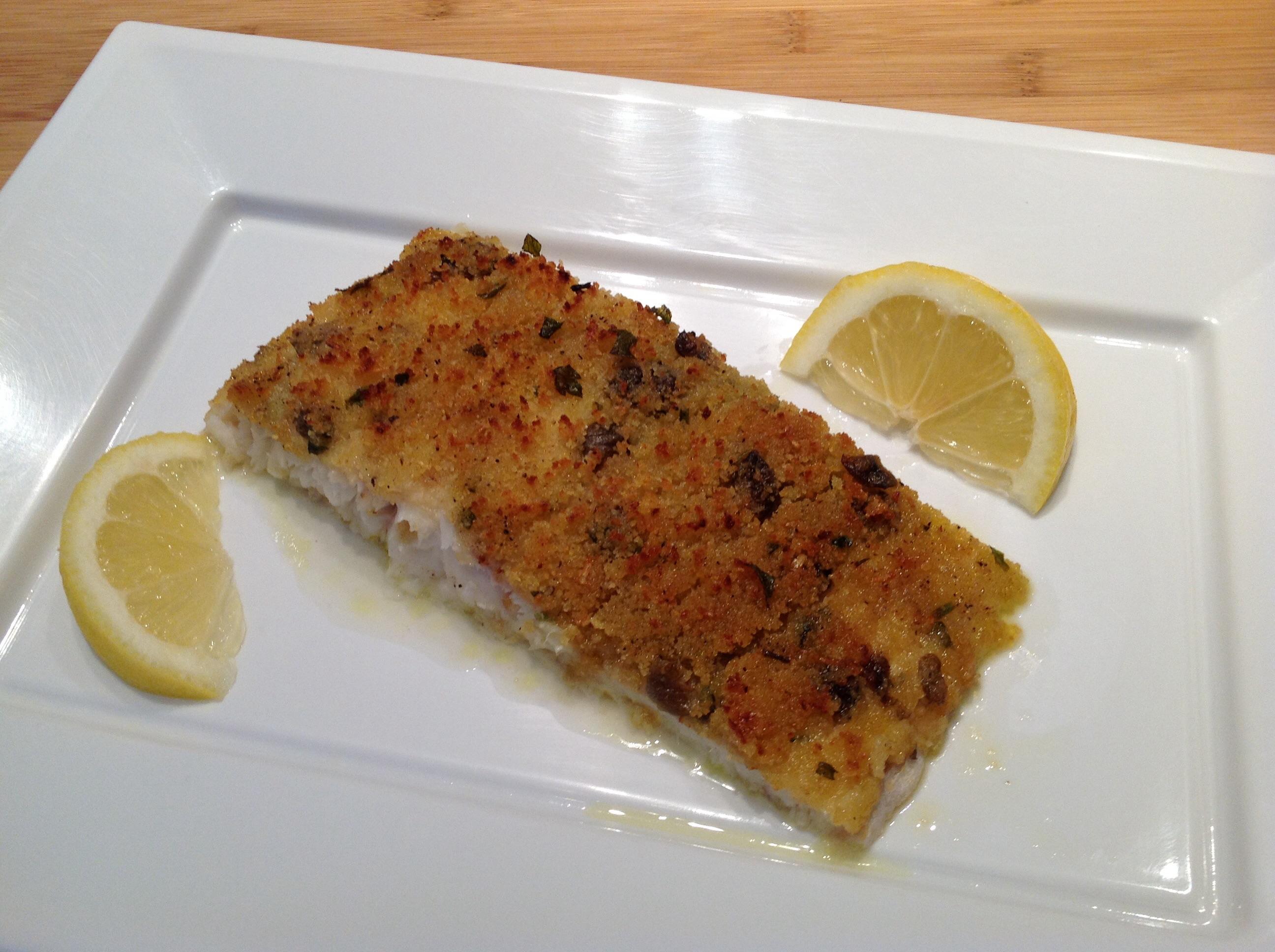 Filetto di pesce persico gratinato in forno