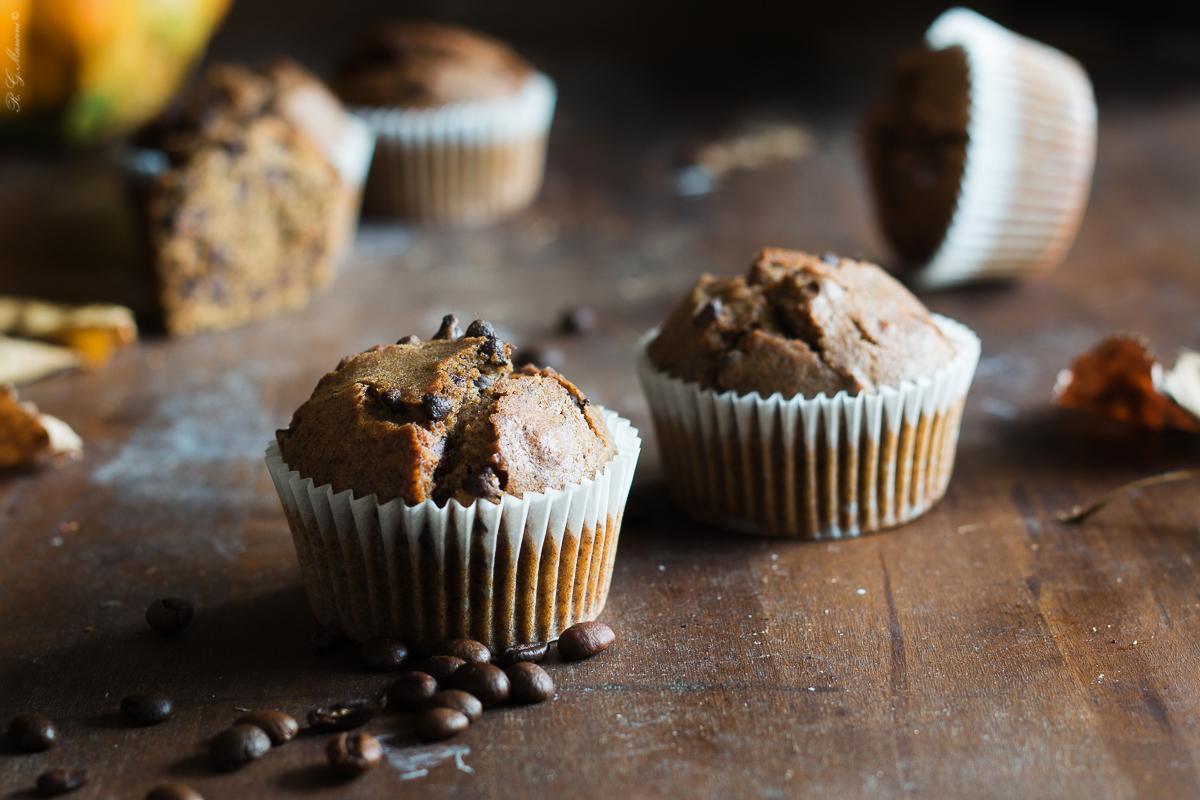 muffin zucca, cioccolato e polvere di caffè