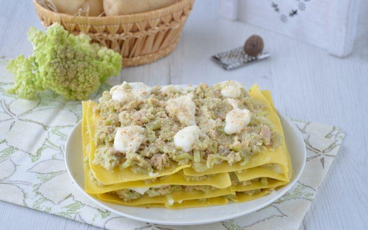 Lasagne con crema di broccolo e tonno