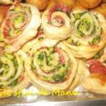 Girelle di sfoglia con verdure e salumi affettati