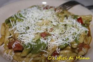 trofie fresche con pesto ai semi di zucca, pomodori freschi e ricotta marzotica