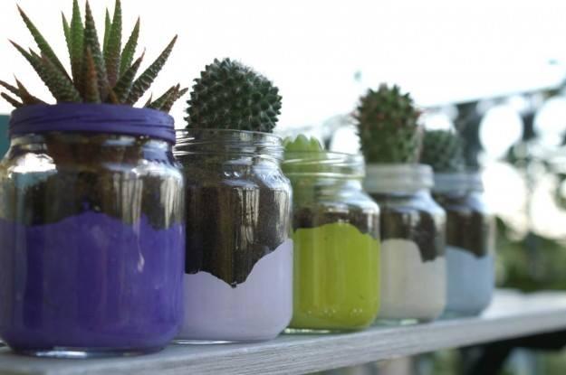 Riciclo creativo di barattoli di vetro gli sfizi di manu - Vasi con piante grasse ...