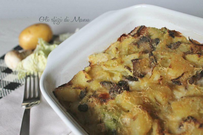 Sformato di verza, patate e funghi
