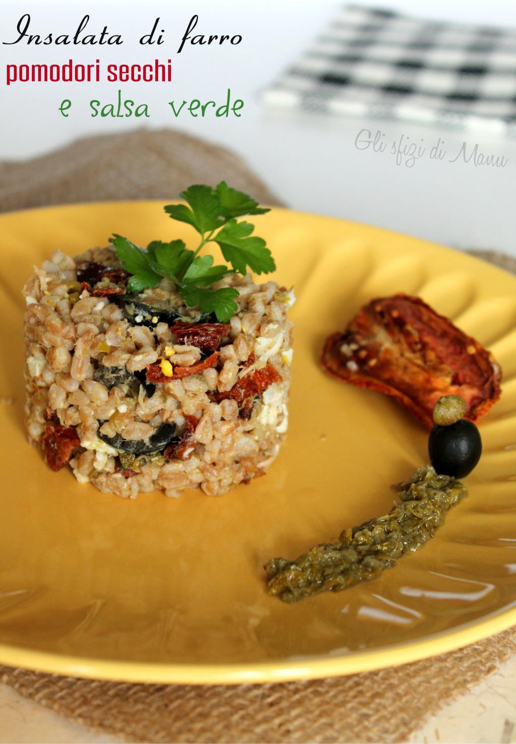 insalata di farro ai pomodori secchi e salsa verde
