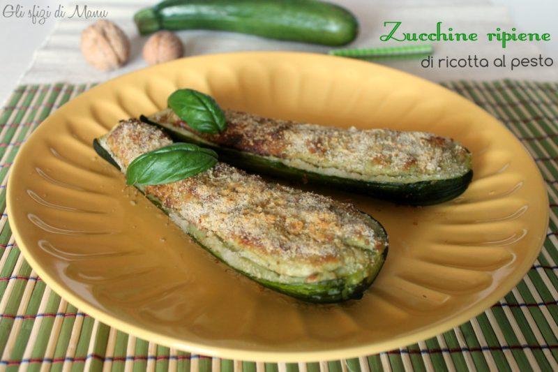 Zucchine ripiene di ricotta al pesto