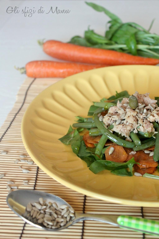 insalata di fagiolini, tonno e carote