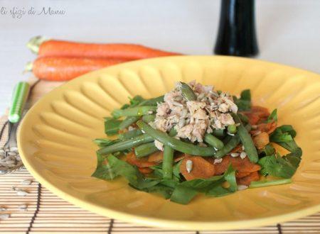 Insalata di fagiolini, tonno, rucola e carote