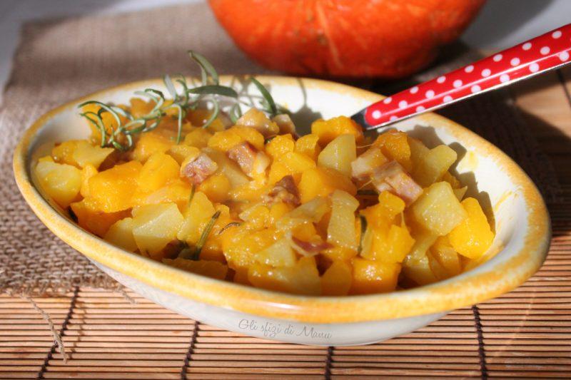 Padellata di zucca patate e pancetta