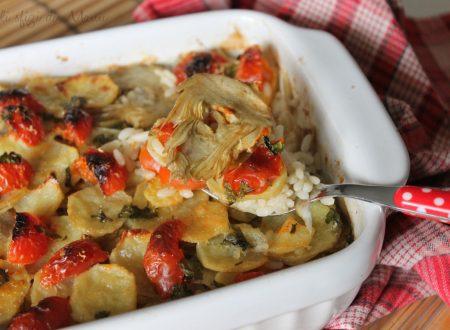 Tiella di patate riso e carciofi